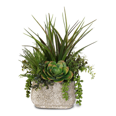 Artificial Succulent Variety in a Stone Pot #62C