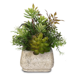 Jenny Silks Artificial Green Succulents Arrangement in a Square Cement Pot #62