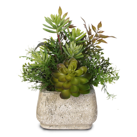 Artificial Succulent Variety in a Stone Pot #62