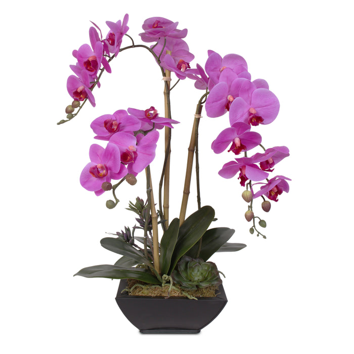 Real Touch Purple Phalaenopsis Orchid in a Metal Container #69