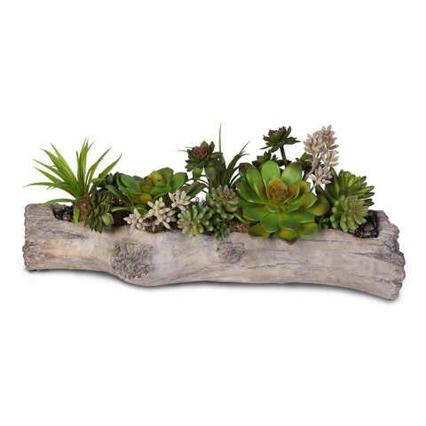 Artificial Succulents with Natural Rocks in a Concrete Log #71B