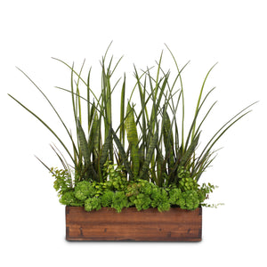 Green Real Touch Artificial Succulent Plants & Grasses Arranged in a Real Wood Planter #S-71D