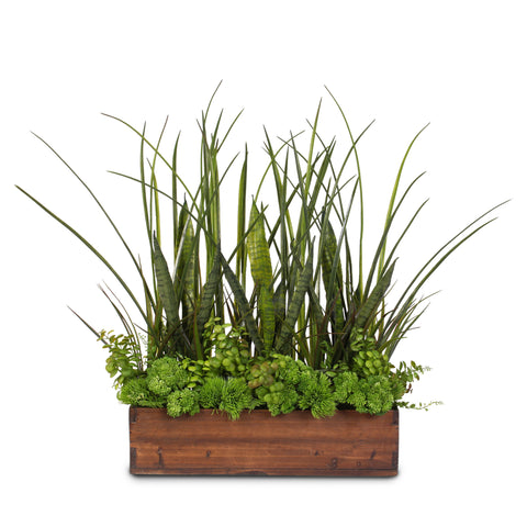 Green Real Touch Artificial Succulent Plants & Grasses Arranged in a Real Wood Planter #71D