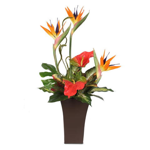 Silk Large Bird of Paradise and Anthurium in a Tall Metal Container #7C