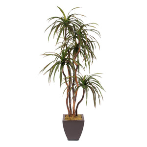 6 Feet Silk Yucca Tree with Natural Wood Trunks in a Metal Planter #97