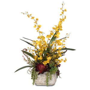 Balancing Yellow Silk Oncidium Orchids with Succulents in Concrete Pot #C-5401