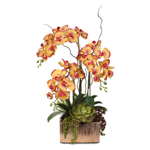 Real Touch Red/Yellow Orchid x 3 in Gold Ceramic Pot #F-03