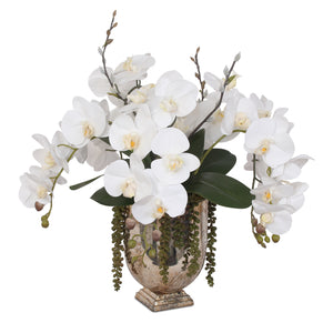 F-104 Real Touch White Silk Phalaenopsis Orchids and Leaves with String of Pearls Table Arrangement in Antique Gold Glass Vase