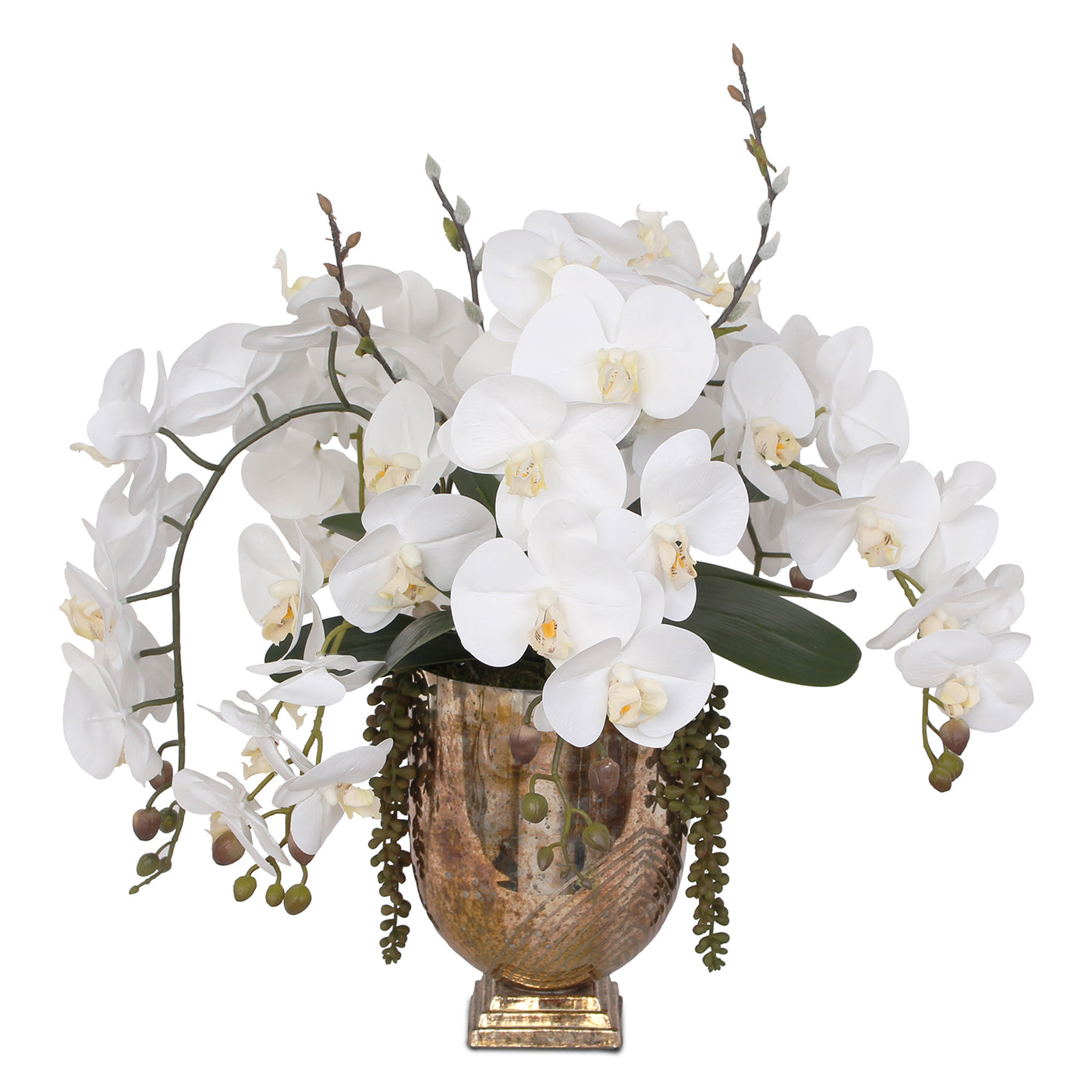 Real Touch White Silk Phalaenopsis Orchids And Leaves With String Of P Jenny Silks