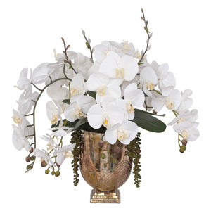 Real Touch White Silk Phalaenopsis Orchids and Leaves with String of Pearls Table Arrangement in Antique Gold Glass Vase #F-104