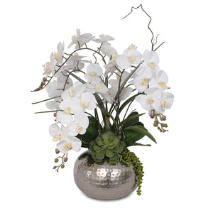 Real Touch White Silk Phalaenopsis Orchids and Leaves with String of Pearls Succulents Table Arrangement in Champagne Silver Metal Ball Pot #F-105