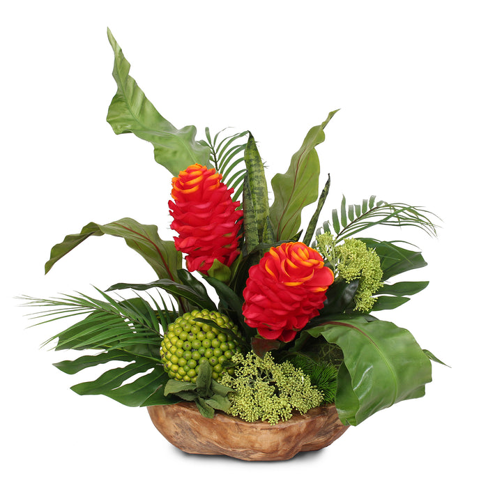Impressive Tropical Silk Flower Display in Natural Teak Wood Bowl #F-108