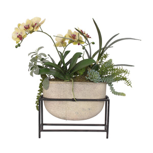 Vibrant Yellow & Burgundy Phalaenopsis Orchids and Succulent Greenery in Ceramic Vase with Metal Holder #F-109