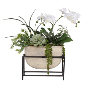Vibrant White Phalaenopsis Orchids and Greenery in Ceramic Vase with Metal Holder #F-110