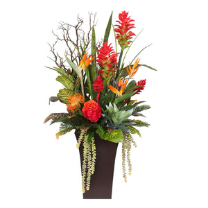 Luscious Tropical Silk Flowers and Greens in Brown Metal Pot #F-113