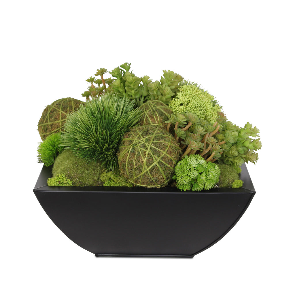 Modern Design Fake Green Grass Balls with Artificial Succulents and Moss Rocks in Black Metal Zinc Pot #F-115