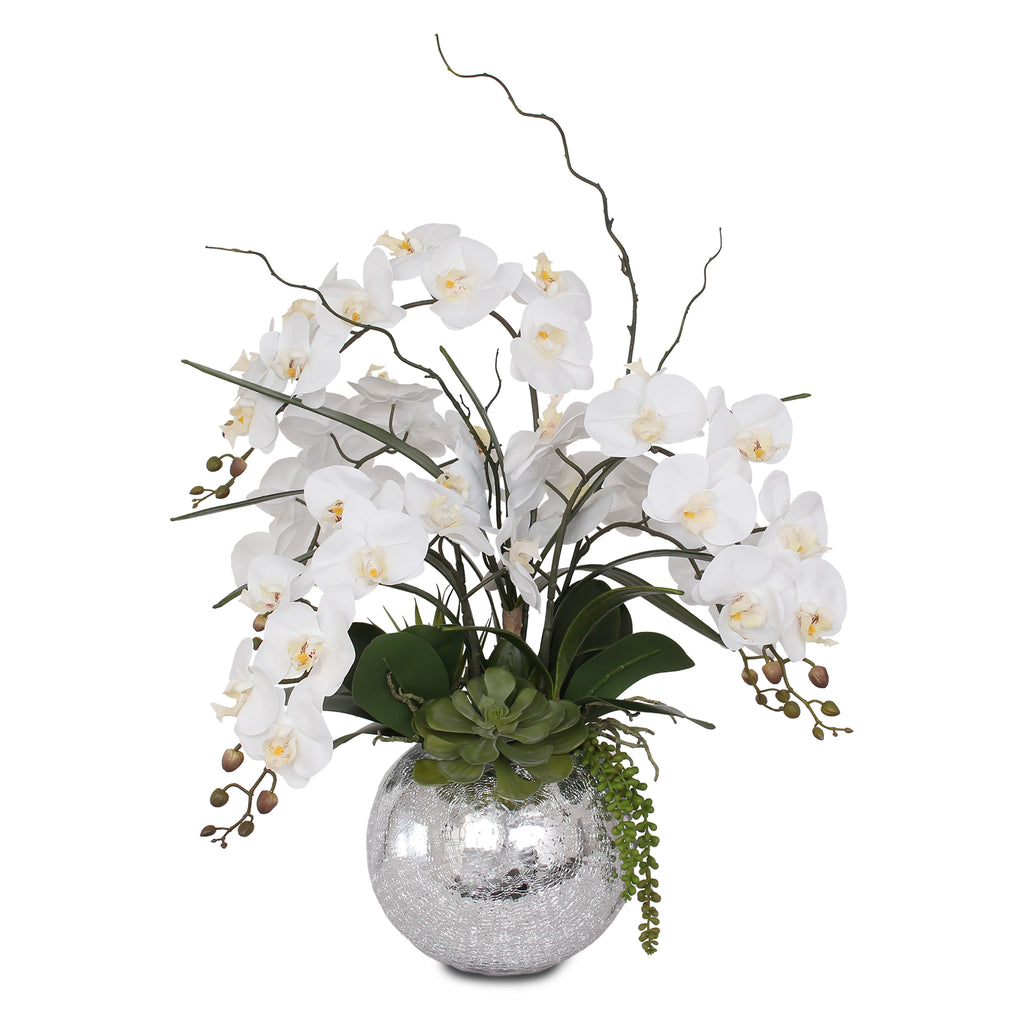 Real Touch White Orchid in Silver Glass Ball #F-134