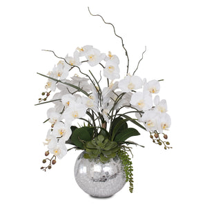 Jenny Silks Real Touch White Orchid in Silver Glass Ball #F-134