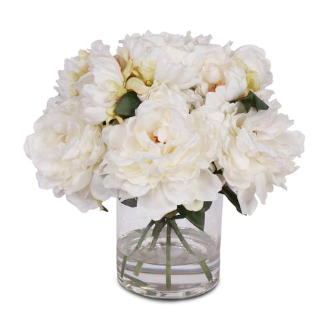 Cream White Silk Peony Arrangement with Faux Water in Glass Vase #F-42
