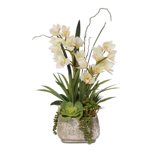Real Touch White Cymbidium Orchids with Artificial Succulents in Concrete Pot #F-56