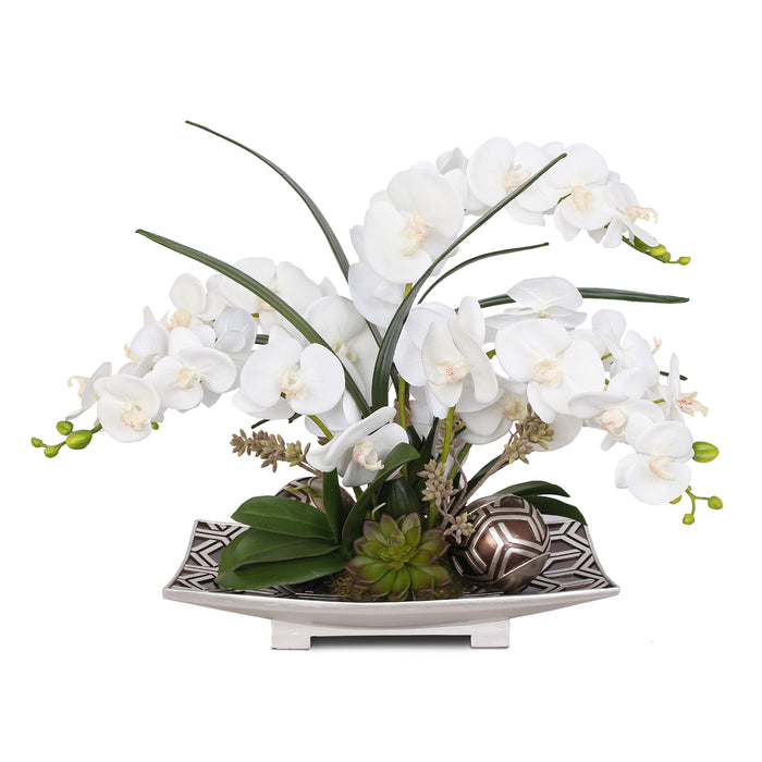 Real Touch White Silk Phalaenopsis Orchid and Faux Succulent with Decorative Balls in Brown Silver Plate #F-85