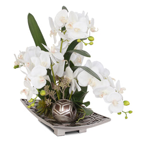 F-85 Real Touch White Silk Phalaenopsis Orchid and Faux Succulent with Decorative Balls in Brown Silver Plate