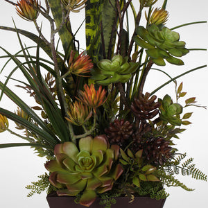 Succulent Centerpiece in a Metal Container #OS-21