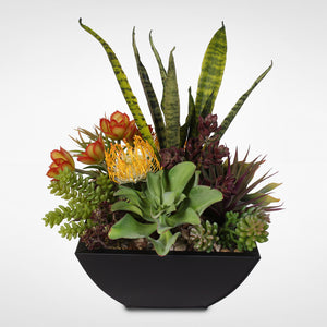 Decorative Artificial Succulent Centerpiece in Metal Container #OS-2