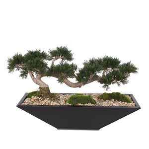 Traditional Fake Large Cedar Bonsai Zinc Garden with Real Pebbles and Faux Moss Grass in Black Metal Zinc Pot #P-14