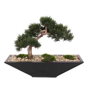 P-15 Modern Fake Medium Cedar Bonsai Zinc garden with Real Pebbles and Faux Moss Grass in Black Metal Zinc Pot