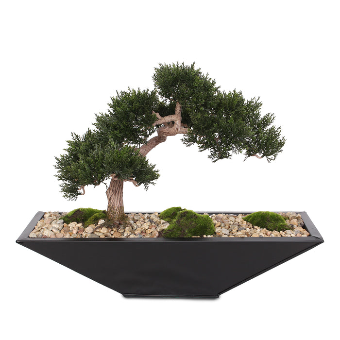 Modern Fake Medium Cedar Bonsai Zinc garden with Real Pebbles and Faux Moss Grass in Black Metal Zinc Pot #P-15
