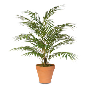 Real Touch Artificial Areca Palm Plant in a Small Black Clay Pot #P-48C