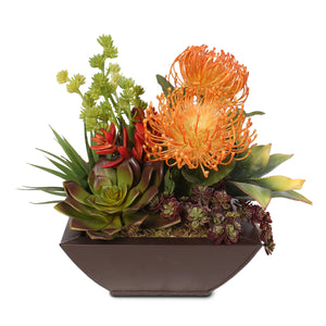 Contemporary Tropical Artificial Succulent Arrangement in a Metal Container #S-04