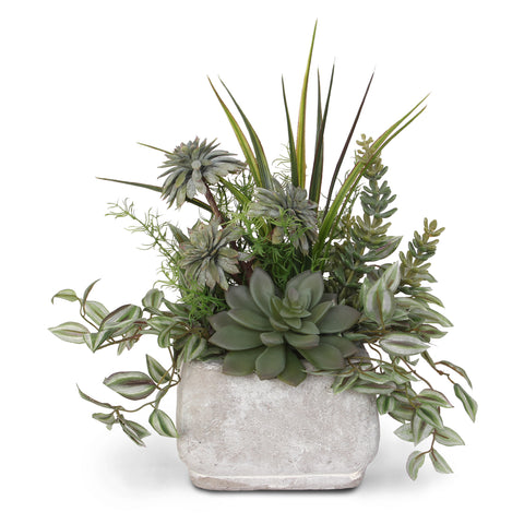 Assorted Artificial Succulents and Green in Stone Pot #S-08