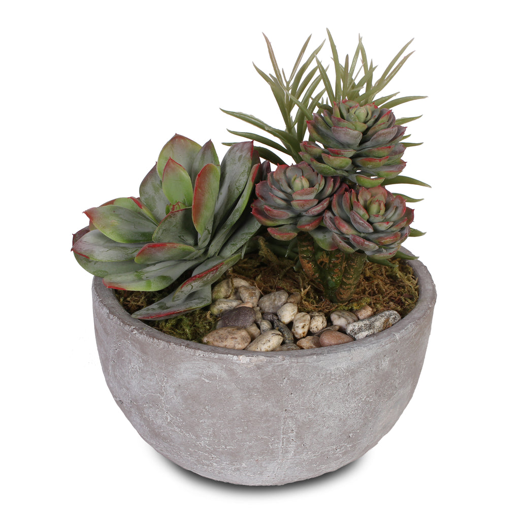 Artificial Succulents with Natural Pebbles in Cement Bowl #S-17