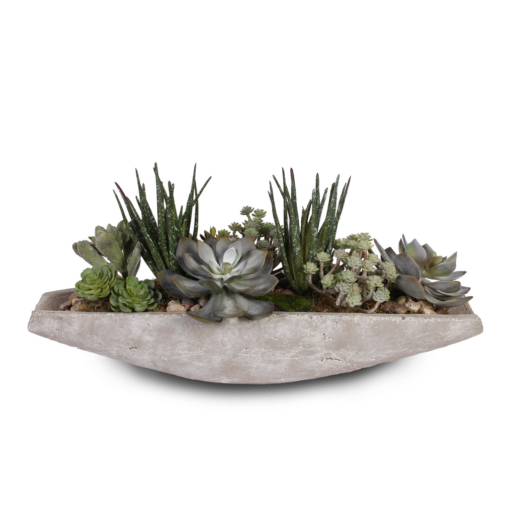 Artificial Succulents with Natural Pebbles in Stone Boat #S-18