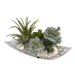 Artificial Succulents with Natural Pebbles in Aluminum Tray #S-20