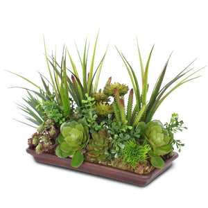 Artificial Succulents in Saucer #S-23