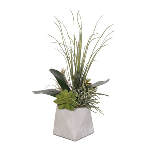 Jenny Silks Regal Artificial Succulents in a Modern Geometric Stone Pot #S-30