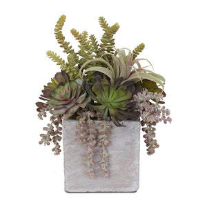 Colorful Fake Succulent Artificial Flower Arrangement in Stone Wash Cube Pot #S-32