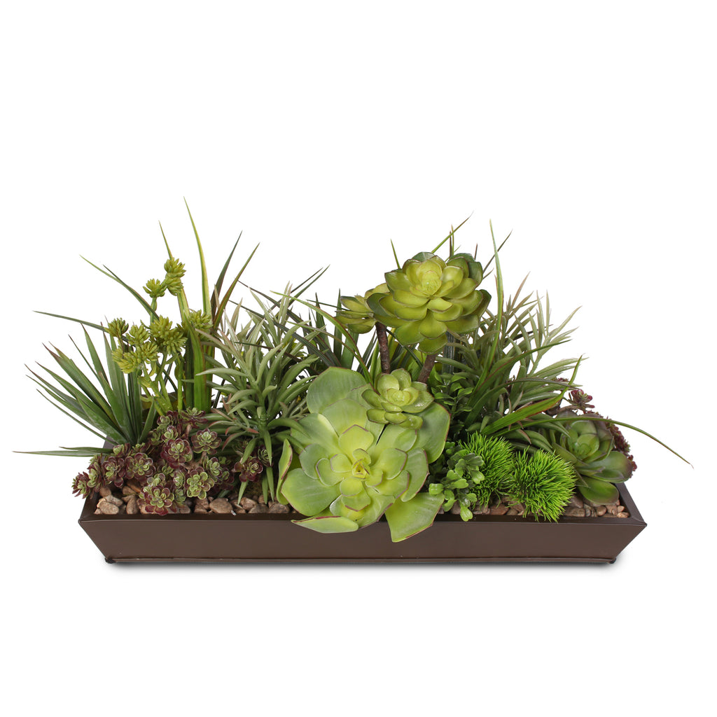 Artificial Succulent Arrangement with Natural Pebbles in Metal Black Rectangle Planter #S-60C