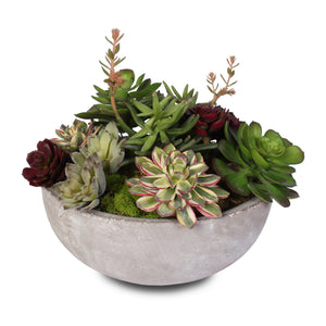 Artificial Succulent Variety in a Modern Cement Round Bowl #S-06