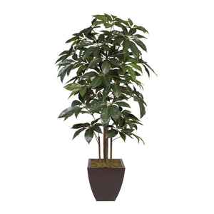 7' Silk Schefflera Tree in Brown Zinc Metal Pot #T-102