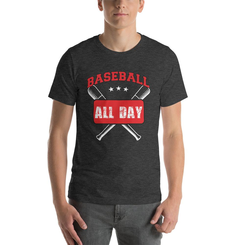 Baseball all day Men's T-Shirt Chiro's Dark Grey Heather XS