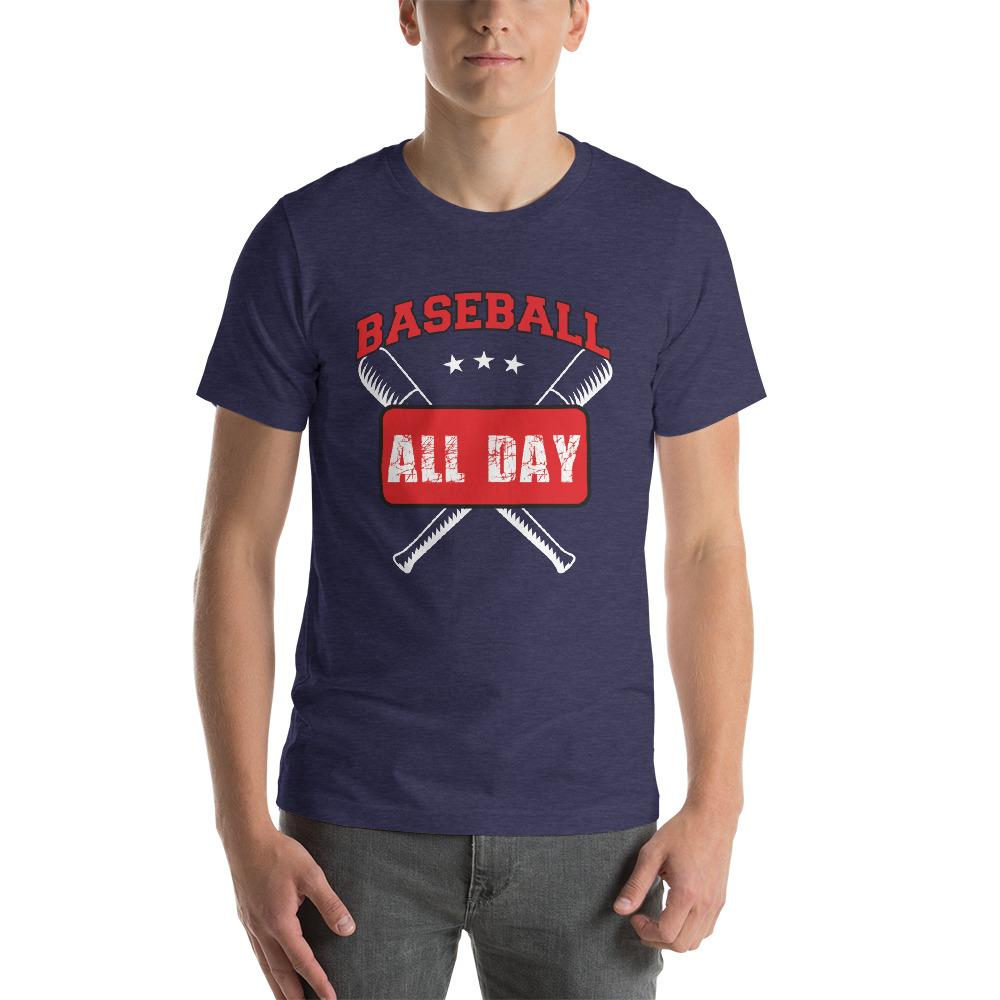 Baseball all day Men's T-Shirt Chiro's Heather Midnight Navy XS