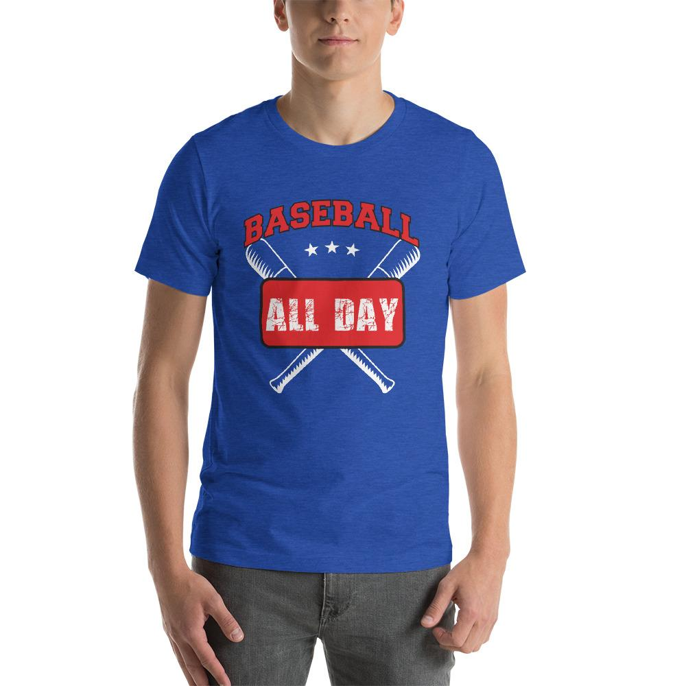 Baseball all day Men's T-Shirt Chiro's Heather True Royal S