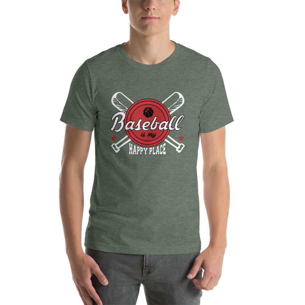 Baseball is my happy Place Men's T-Shirt Chiro's Heather Forest S