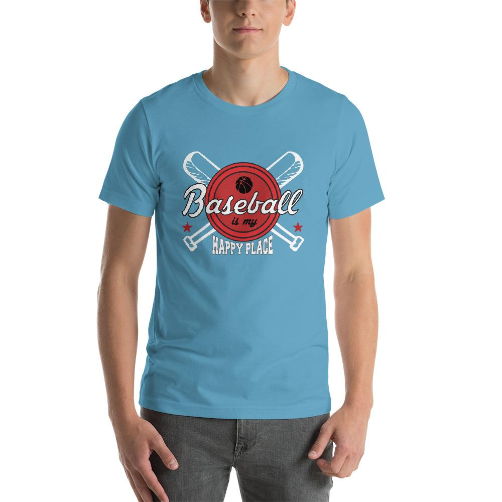 Baseball is my happy Place Men's T-Shirt Chiro's Ocean Blue S