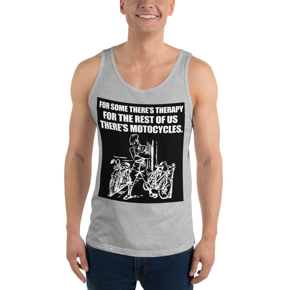 For Some There's Therapy Tank Top Biker Chiro's Athletic Heather XS