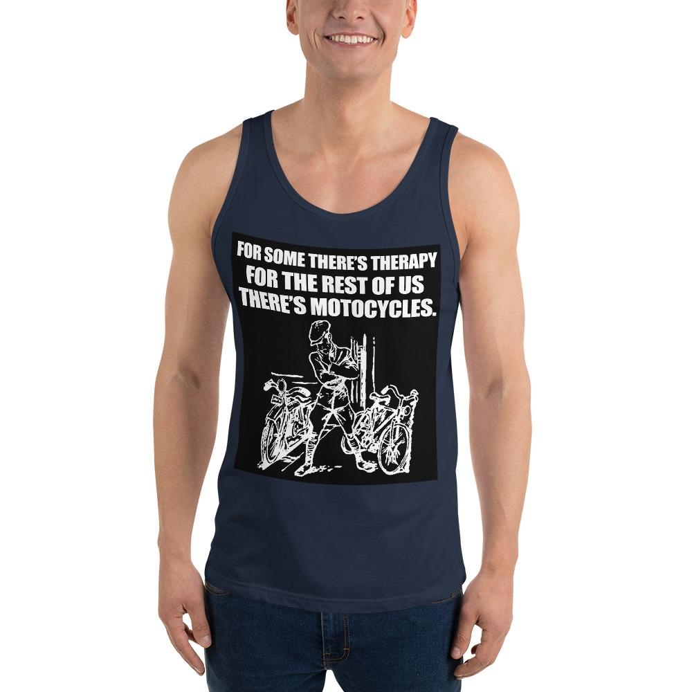 For Some There's Therapy Tank Top Biker Chiro's Navy XS